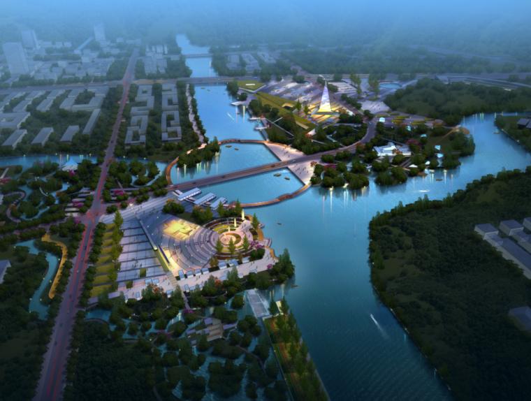 商业景观鸟瞰ps效果图|城市规划项目景观效果PSD分层素材