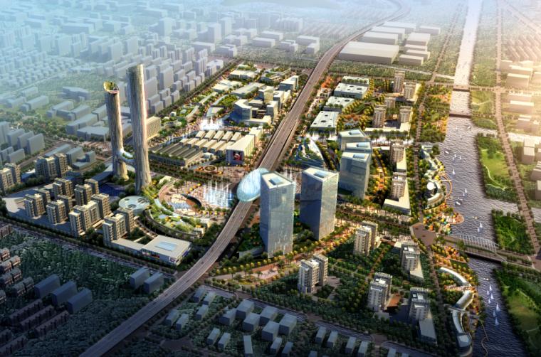 建筑景观ps鸟瞰图|现代大气城市规划建设鸟瞰图psd分层素材