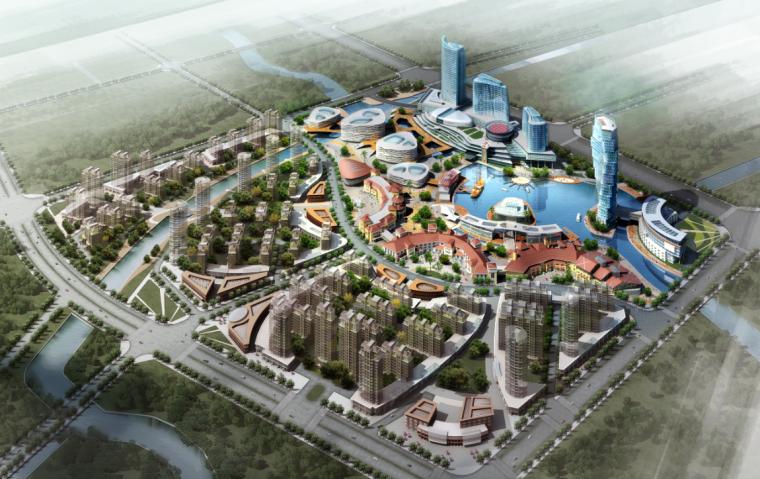 景观规划ps鸟瞰图|草地上城市住宅和度假屋规划psd分层素材