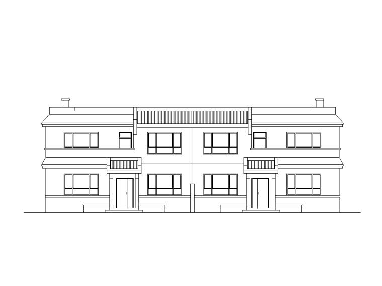 [山西]新农村两户联体式砖混结构二层住宅施工图
