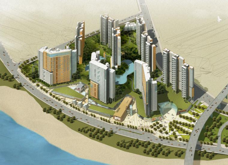 [重庆]高档综合社区招商滨江花园城居住区规划设计方案