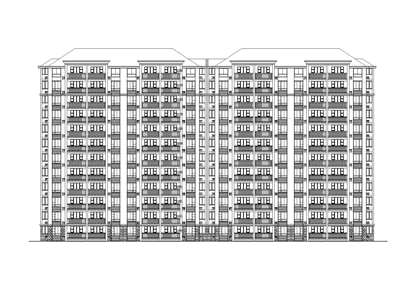 12層坡屋頂小高層住宅建筑施工圖(帶效果圖)