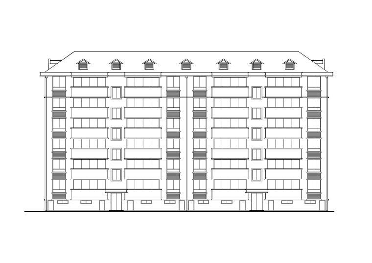 某湖滨小区六层坡屋顶节能回迁住宅楼建筑施工图