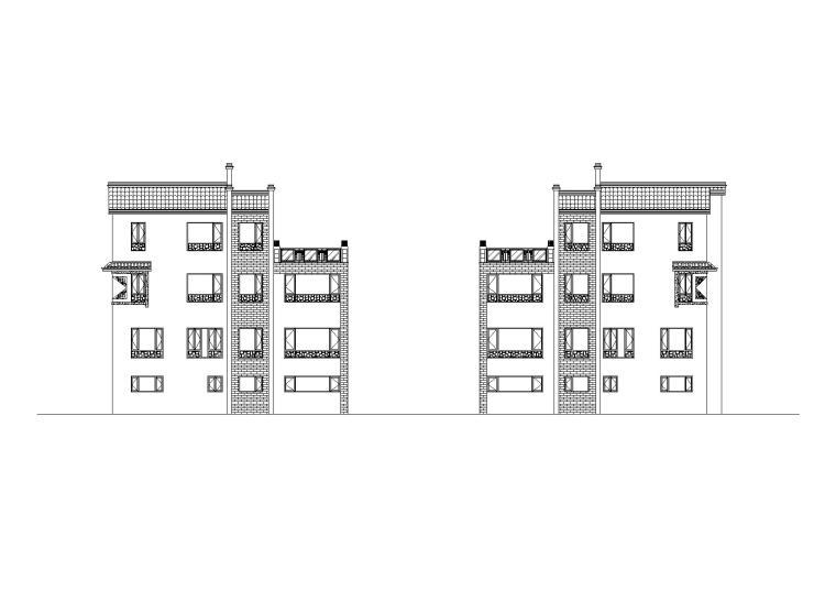 中式风格四合院住宅建筑方案设计施工图(CAD+效果图)