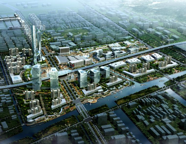 ps素材|城市规划鸟瞰图PSD分层