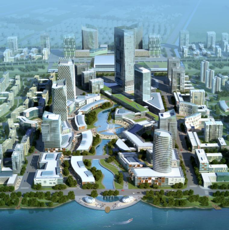 城市规划鸟瞰图PSD分层.psd