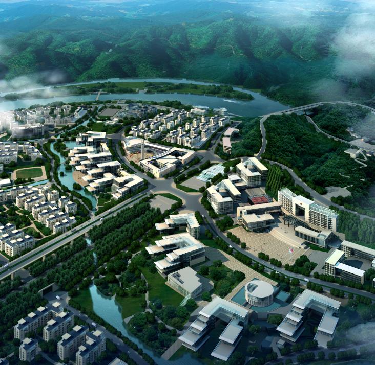 城市效果图—高山江河和繁华的城市鸟瞰图psd素材