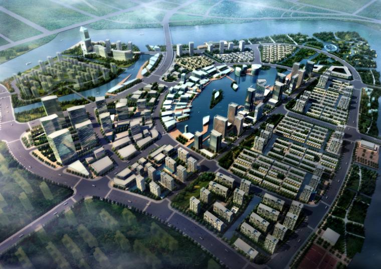 ps素材|城市上空规划鸟瞰图psd分层素材