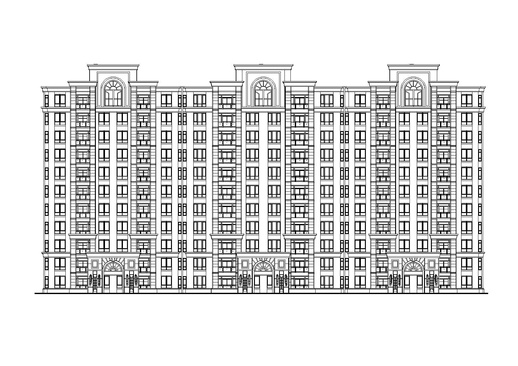 [江蘇]11層現代風格聯排住宅樓建筑設計方案圖