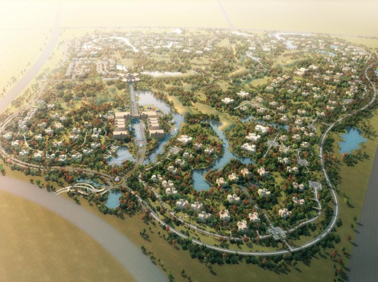城市规划效果图—河流和密集的城市俯瞰图psd素材