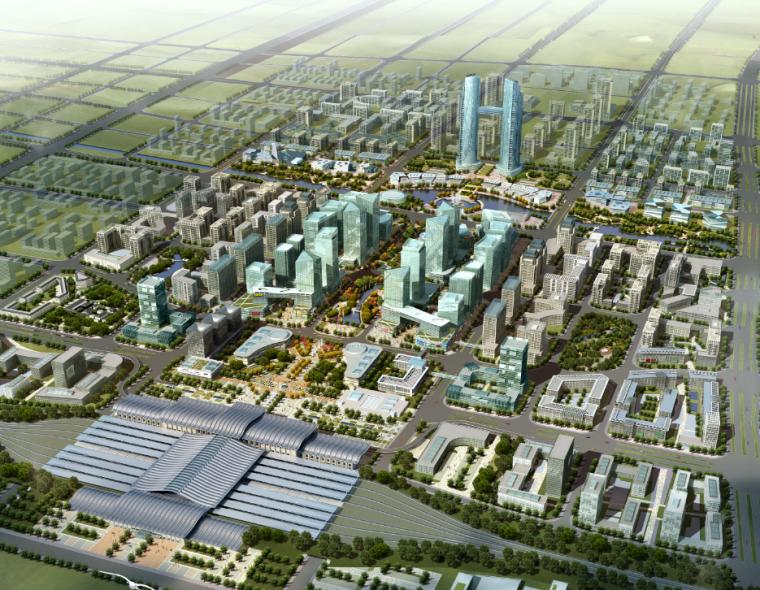 城市规划ps素材|都市建筑鸟瞰图psd