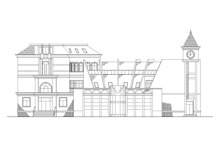 某小区扇形商业娱乐会所建筑施工图
