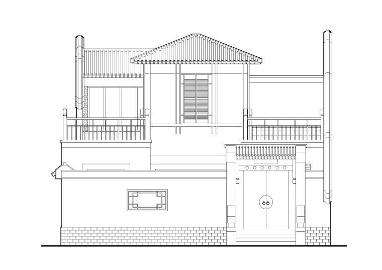 北方坡屋顶小二层三居四合院居住建筑施工图(含效果图)