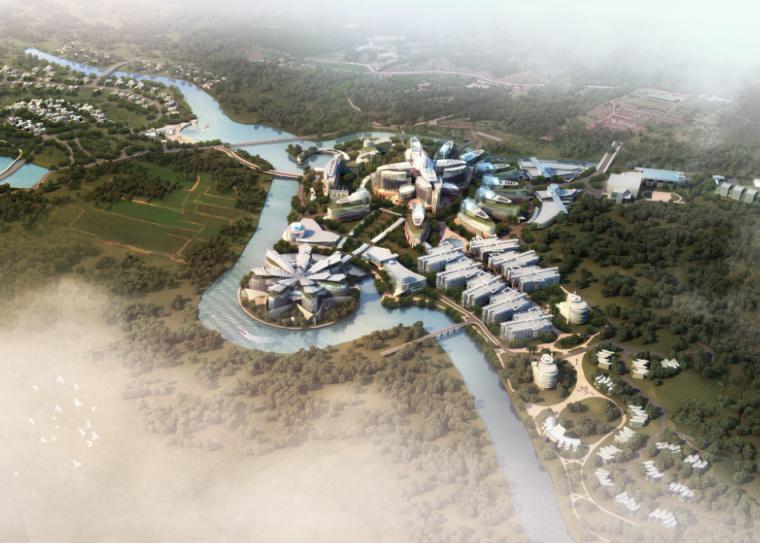 河岸鸟瞰图ps素材|河水两岸的建筑物鸟瞰效果psd分层素材