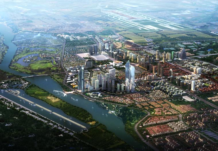 城市规划鸟瞰图|河岸两侧的城市鸟瞰图PSD分层素材