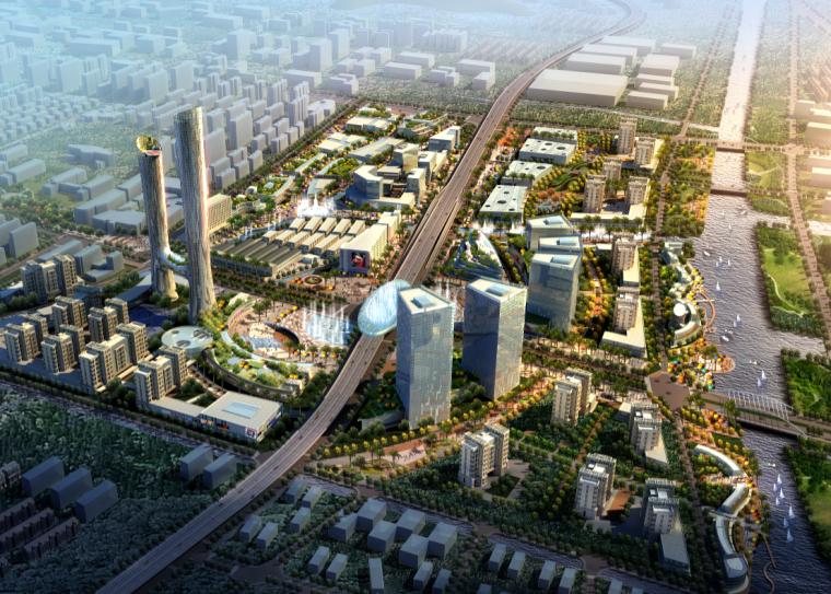 城市规划ps效果图|繁华都市建筑规划鸟瞰图psd分层