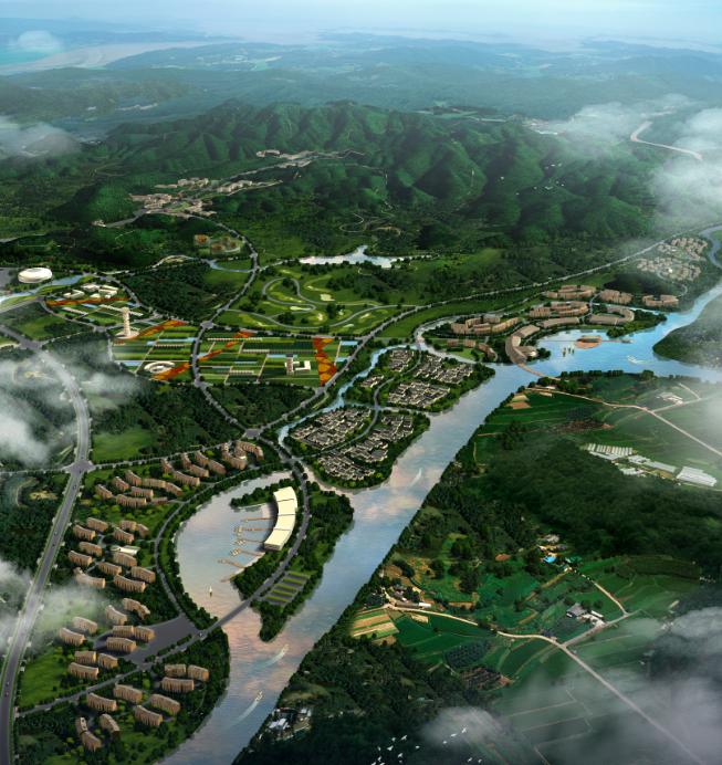 城乡规划ps素材|房地产规划鸟瞰图景观设计PSD分层素材
