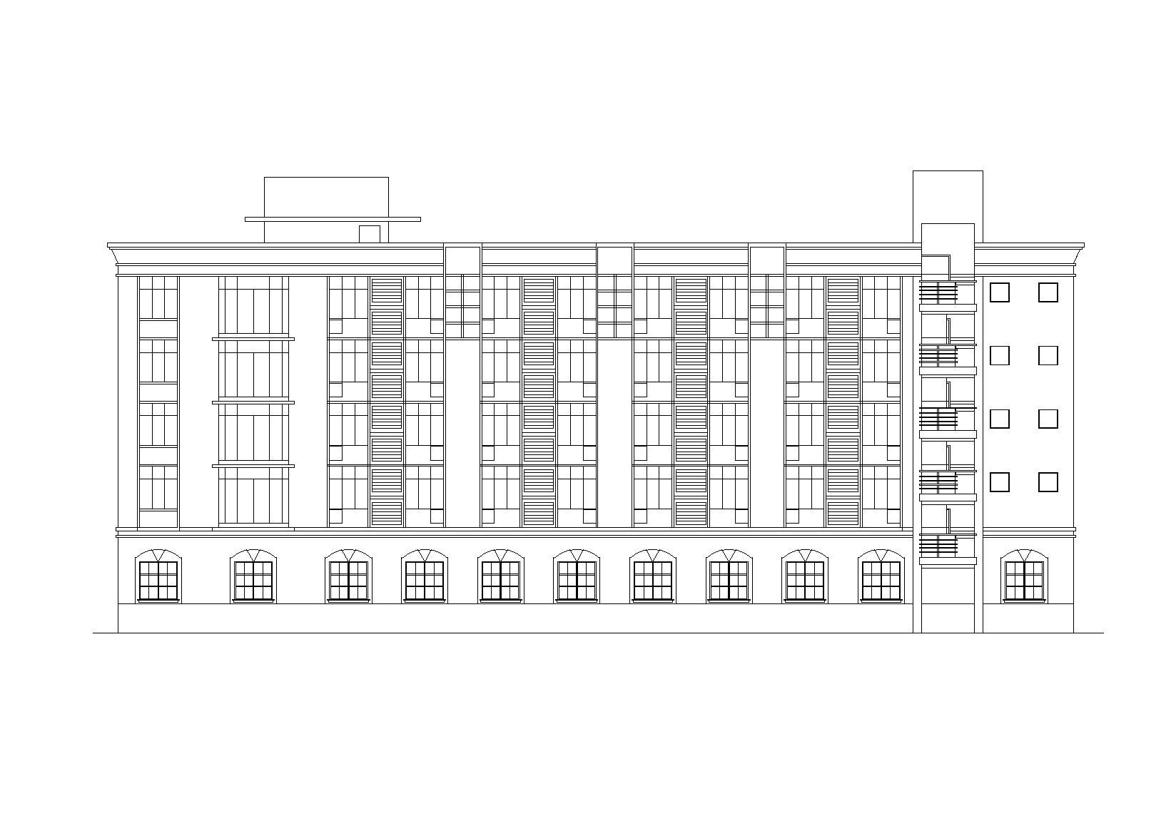 北方五層宿舍樓建筑施工圖(底層食堂)