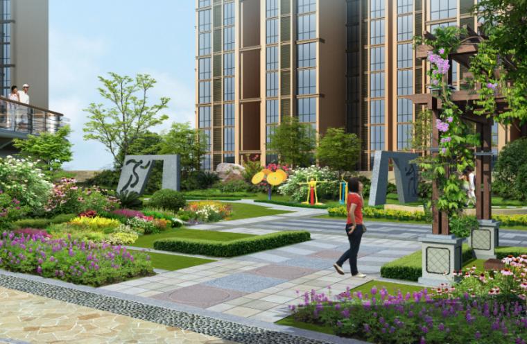 居住区园路景观效果图psd分层素材