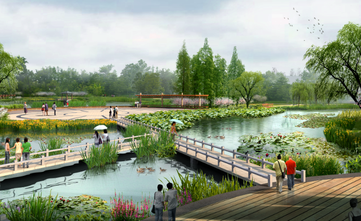 景观ps效果图-滨湖公园景观psd分层素材
