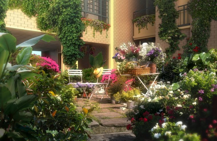 景观ps效果图,庭院花镜别墅景观psd分层素材