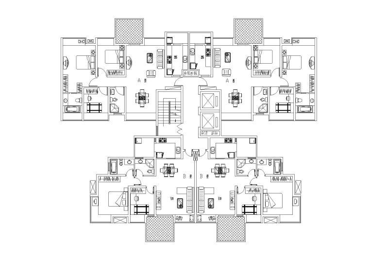 高层二居三居经典户型图(CAD)