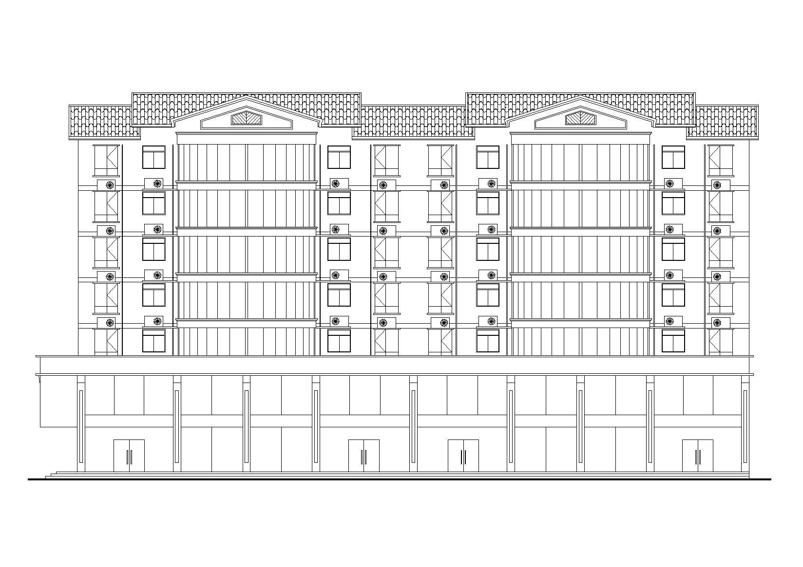 七層(含兩層底商)坡屋頂居民樓建筑設計