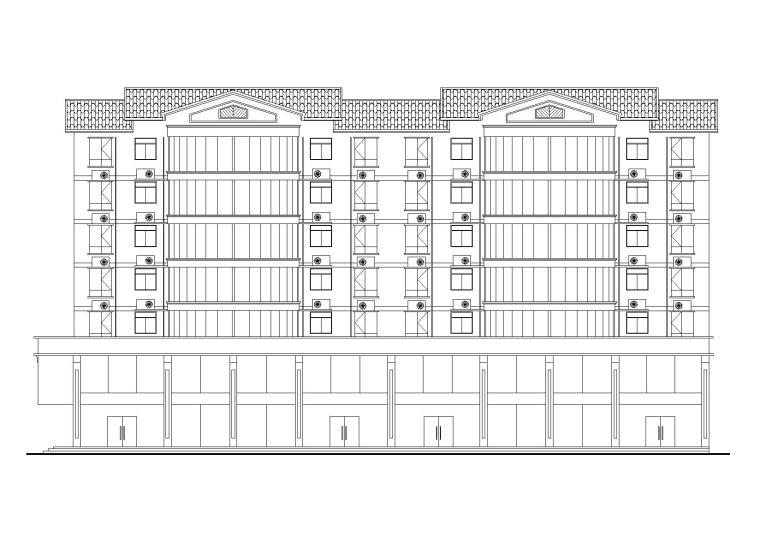 七层坡屋顶居民楼建筑设计(含两层底商)