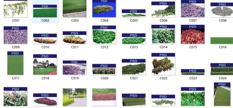 园林、建筑植物配景素材之植皮草地psd素材