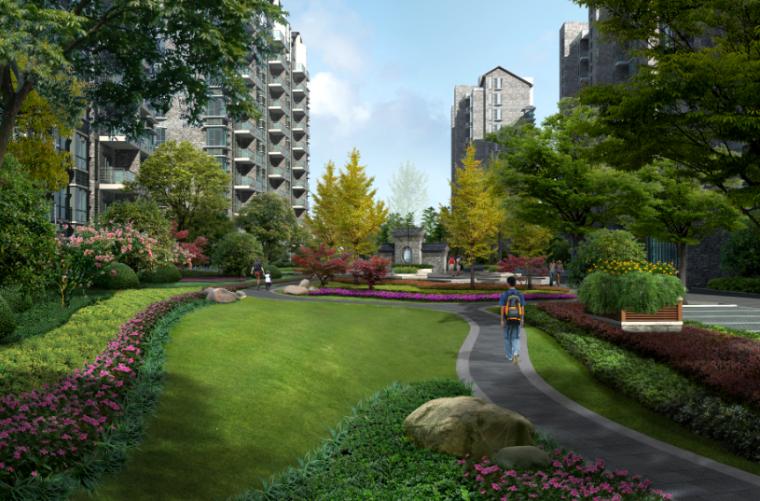 居住区园路绿化效果图psd分层素材