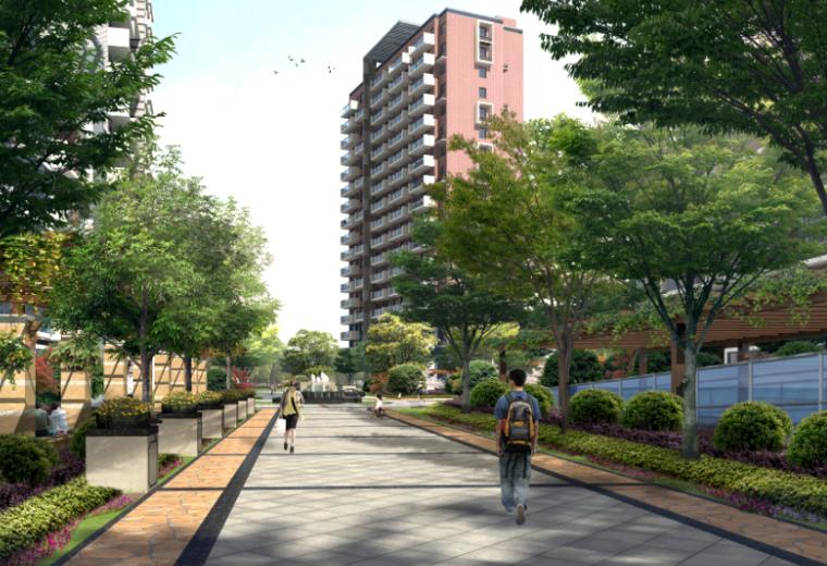 居住区道路街区景观效果图psd分层素材
