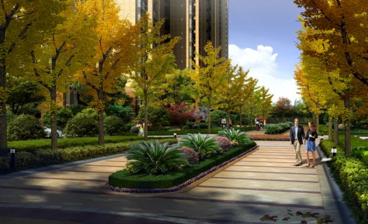 居住区园路效果图psd分层素材