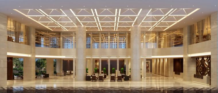 [深圳]高科技公司旗下五星级商务酒店大堂施工图(含效果图)