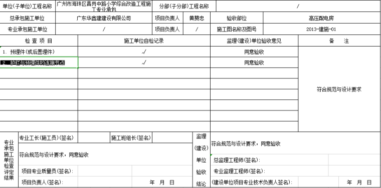 高压配电房细部隐蔽工程质量验收记录(Excel表格)