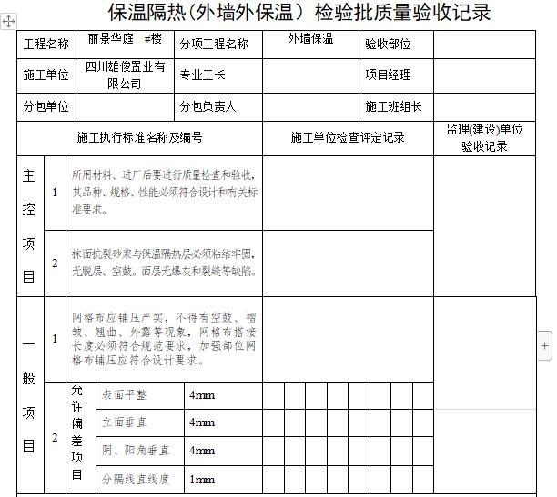 保温隔热检验批质量验收记录表(隐蔽工程验收)