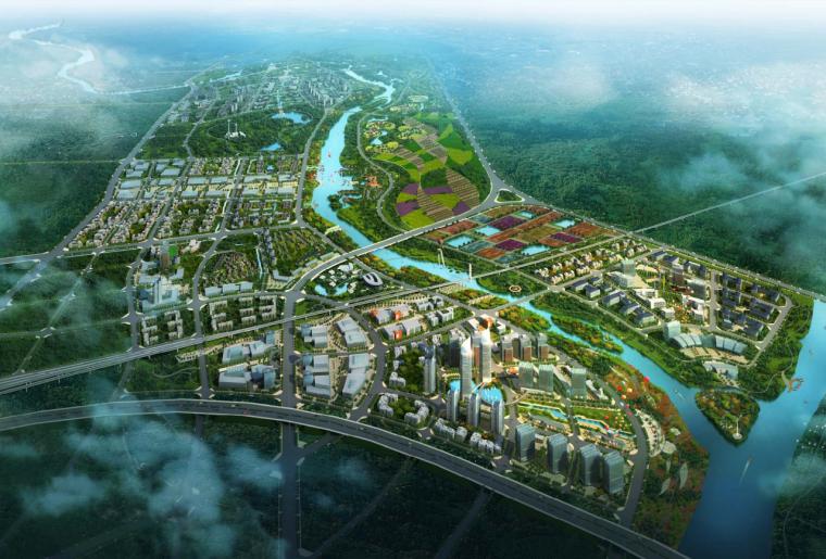 [广西]桂林卫星城灵川核心区城乡一体化生态城市设计方案