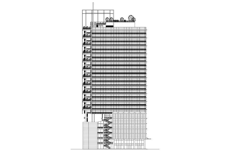 带楼顶观景平台二十九层酒店办公楼建筑施工图