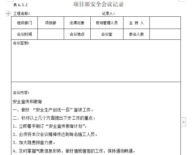 项目部安全会议记录(内容完整)