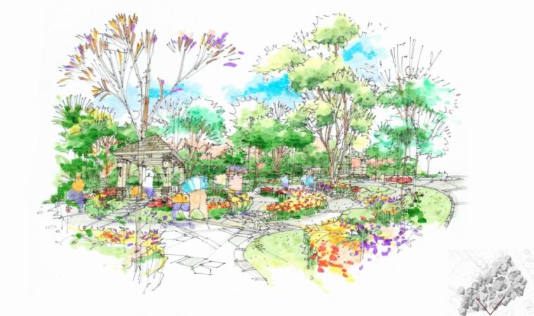 [上海]提香别墅二期居住区扩初设计(景观手绘)图片