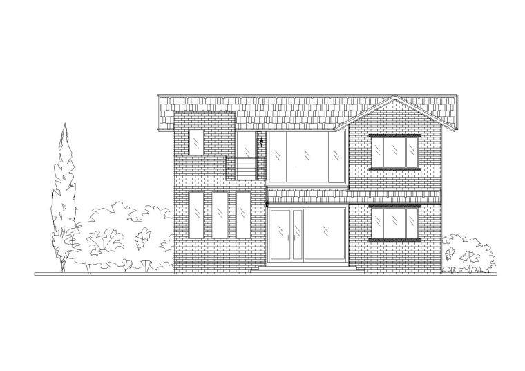 新型城镇联体院落小二层别墅建筑设计施工图