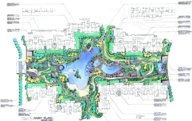 [成都]博瑞植物概念设计范本方案文本(景观手绘平面图,效果图)