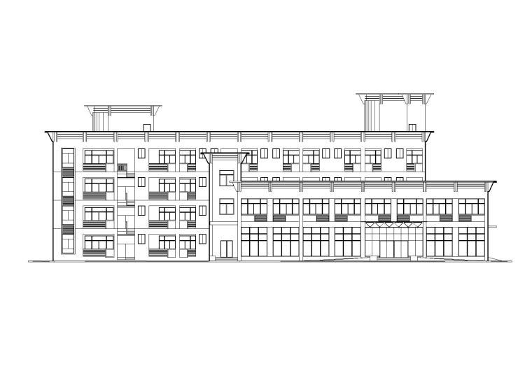 多层食堂庭院宿舍楼建筑施工图