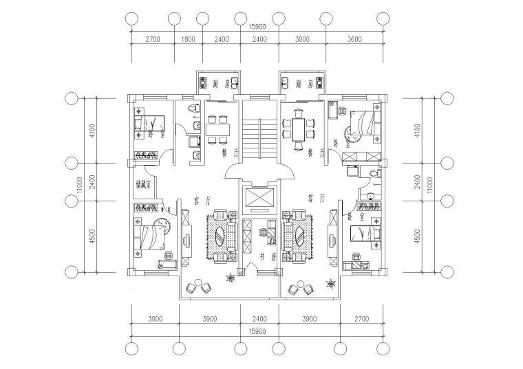 32套高层一梯两户户型平面图(CAD)_2