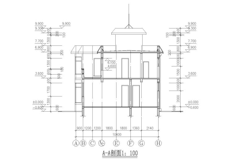 二层阁楼内庭小户型别墅建筑施工图_9