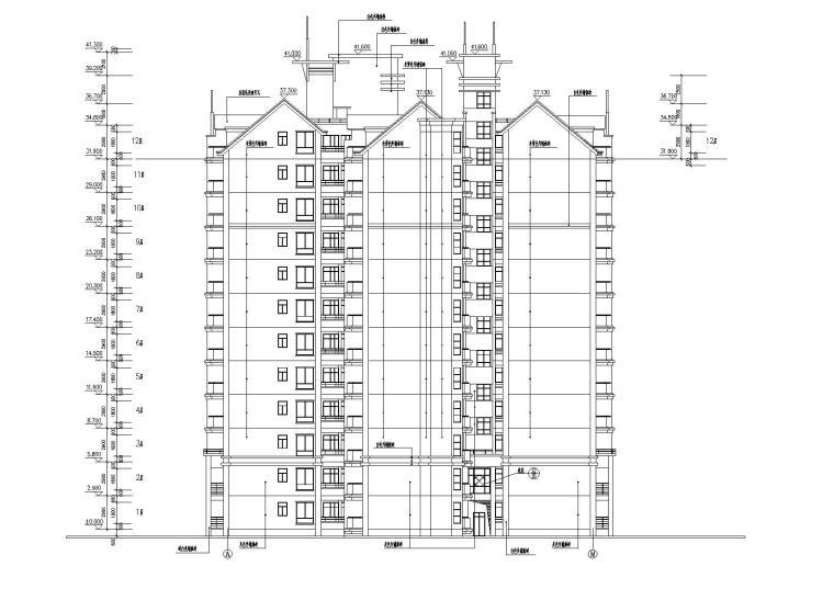 小高层一梯四户住宅楼建筑施工图及大样图_3