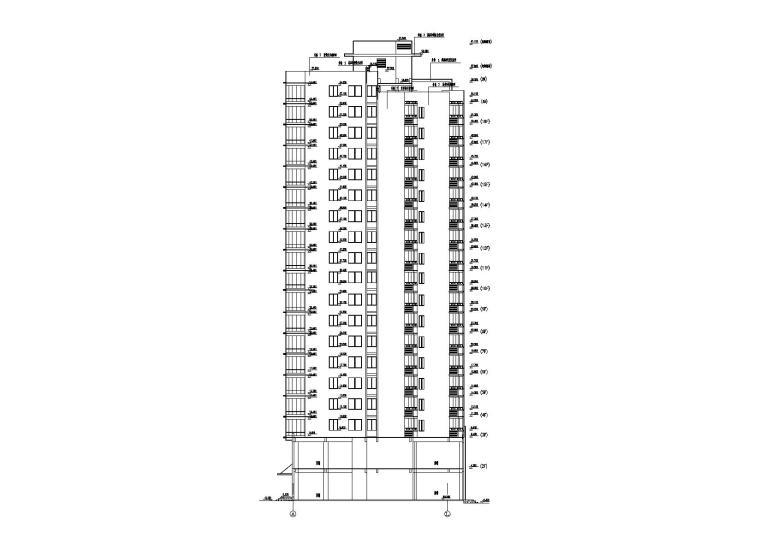 高层一梯四户塔式底商公寓楼建筑施工图_2