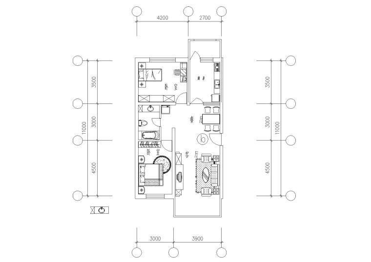 32套高层一梯两户户型平面图(CAD)_3