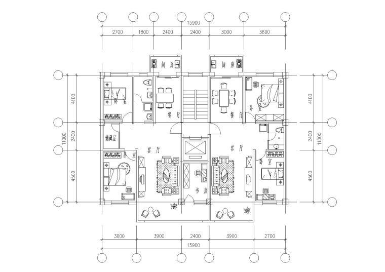 32套高层一梯两户户型平面图(CAD)_6