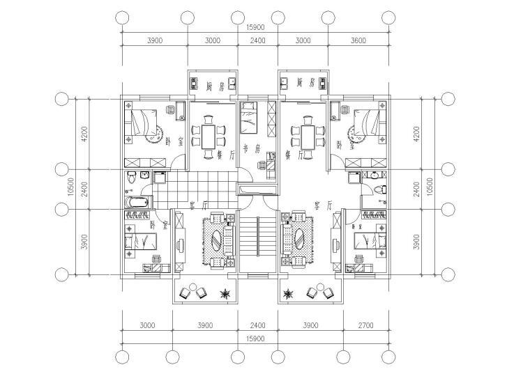 32套高层一梯两户户型平面图(CAD)