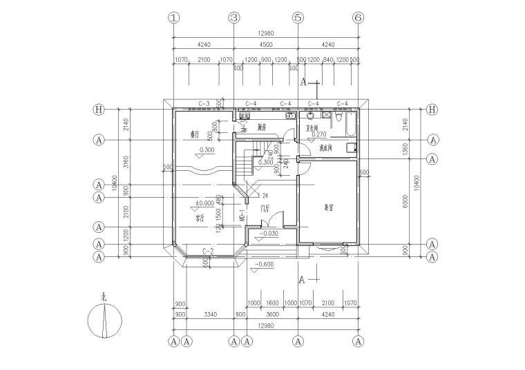 二层阁楼内庭小户型别墅建筑施工图_5